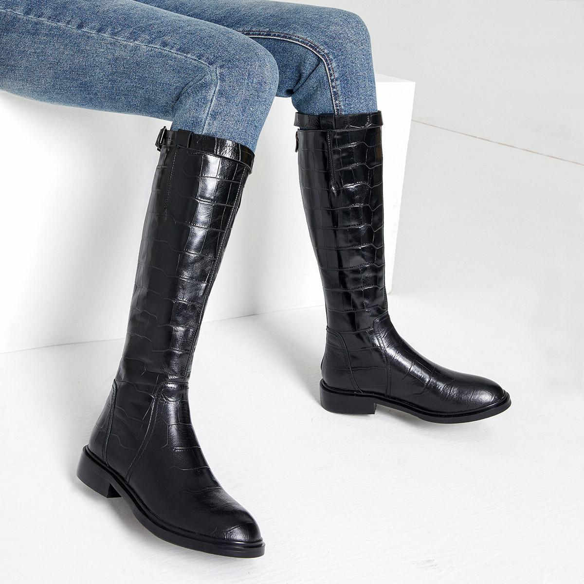 杰雷哈洛高筒靴新款石头纹牛皮拉链机车靴骑士靴