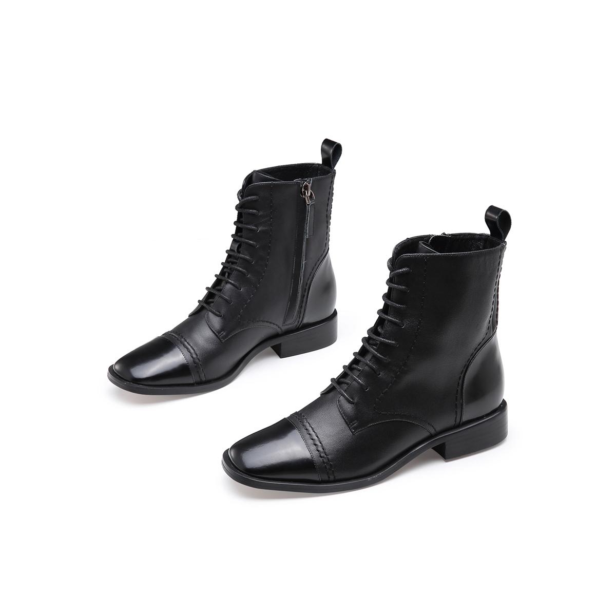 马丁靴新款牛皮拼接拉链低跟靴子女