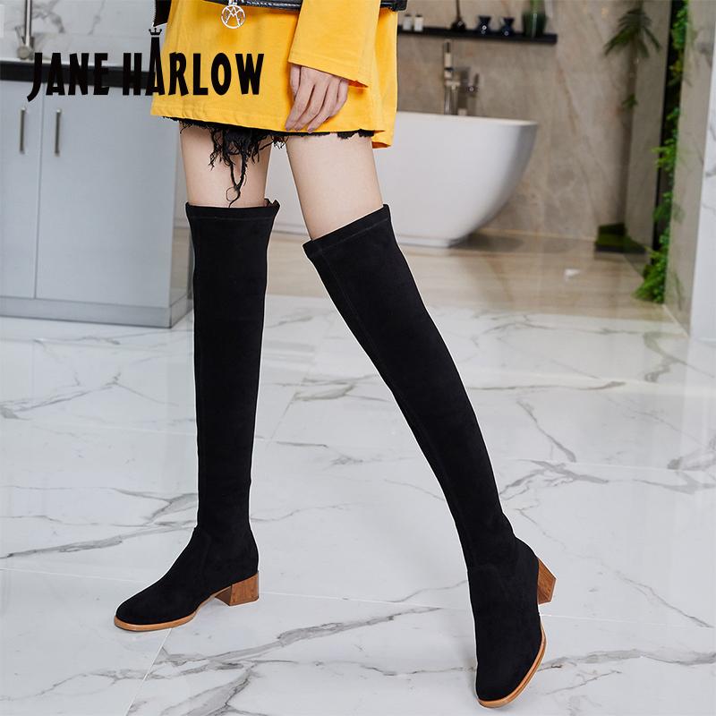 杰雷哈洛职场女鞋 秋冬黑色高筒过膝长靴弹力瘦瘦靴 J14AK21159PA