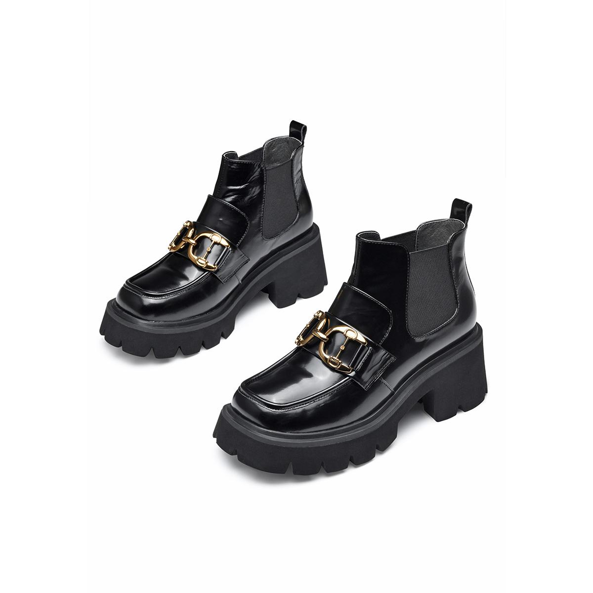 杰雷哈洛【休闲靴】秋冬新款质感牛皮套脚厚底百搭女靴切尔西靴