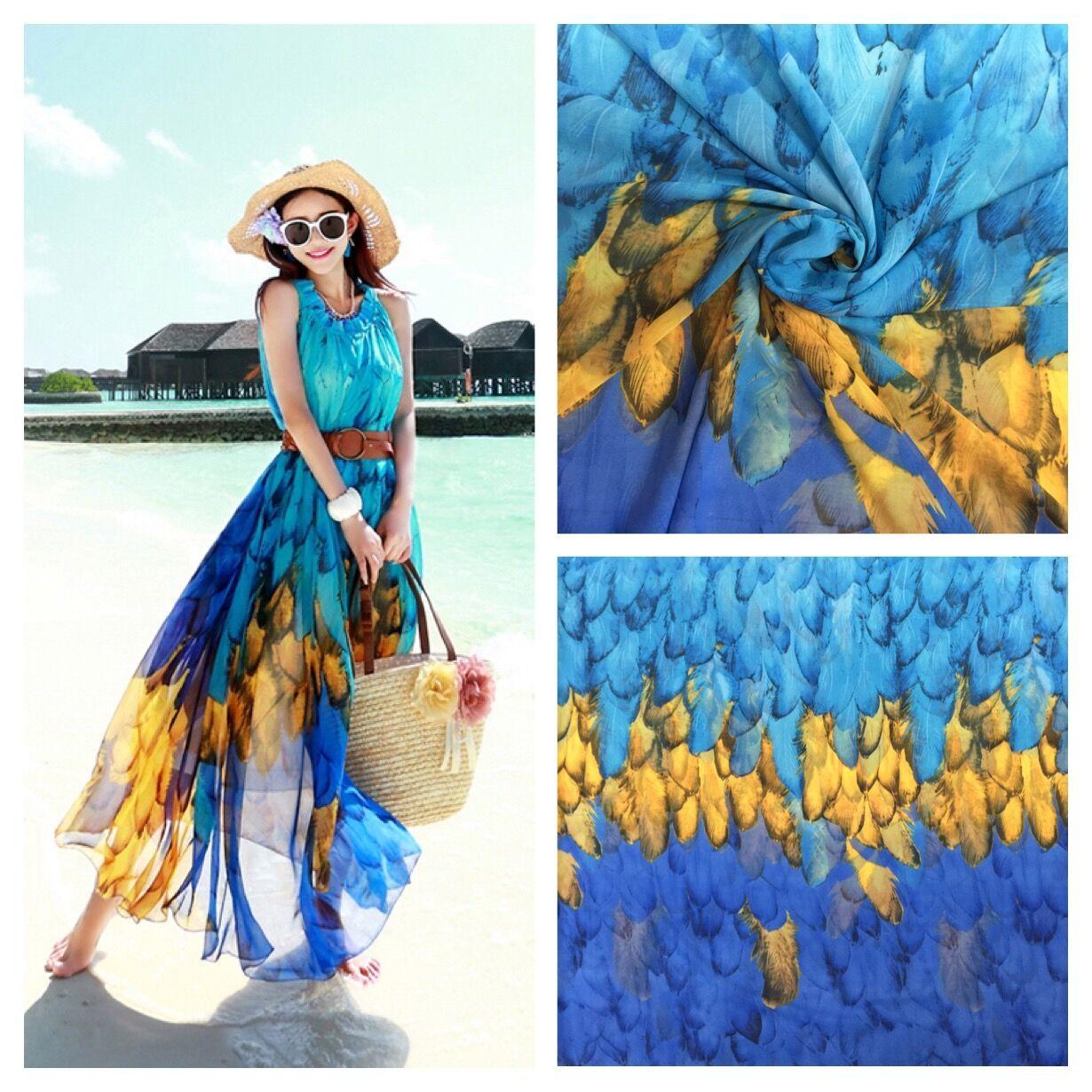 布料度假印花3色渐变羽毛雪纺衬衣连衣裙波西米亚海边裙丝巾面料
