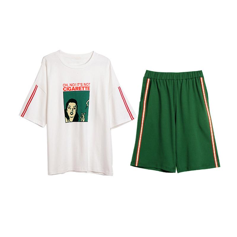 情侣睡衣女夏季纯棉短袖韩版两件套装