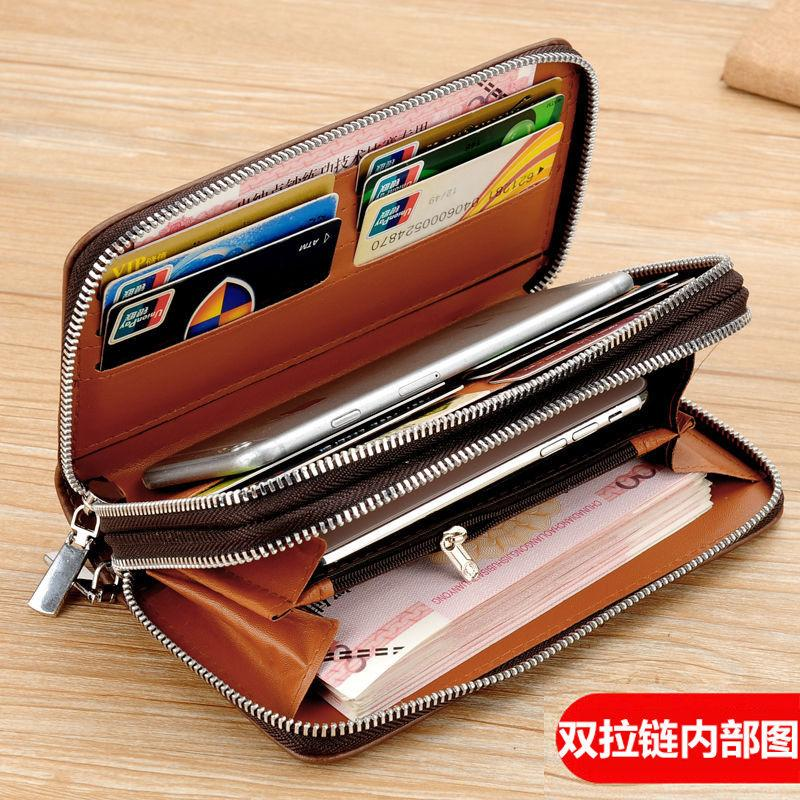 Mens bag fashion long mens wallet bag business multi card large capacity double zipper bag mens wallet