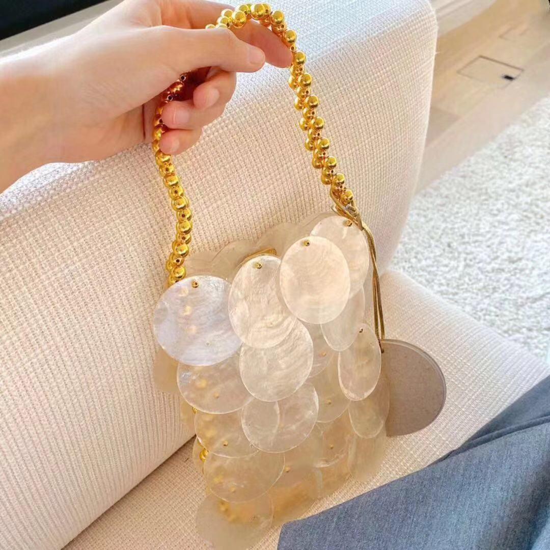 小众网红同款贝壳虾片包金色串珠手提神仙贝壳包手拎包女2020新款