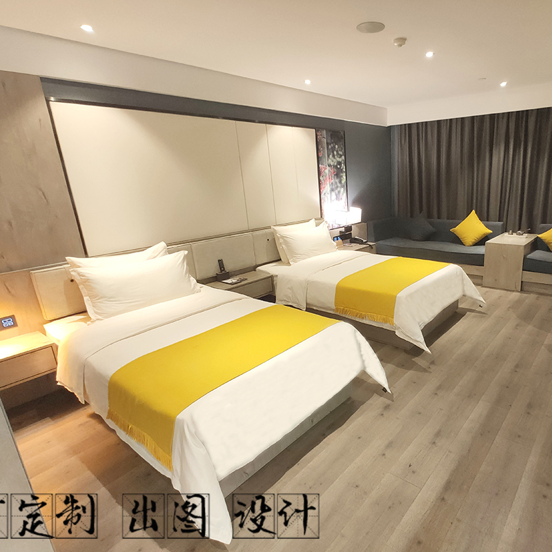 Hotel furniture fast chain boutique B & B guest room apartment double bed standard room board full set customization