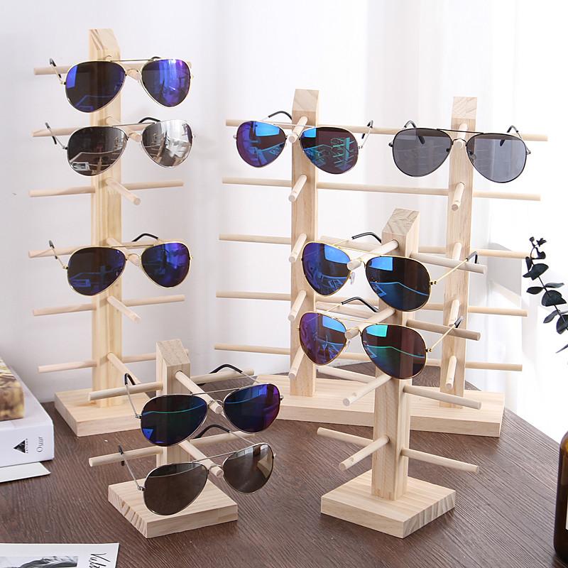 便雅实木眼镜架子展示架太阳镜展示架墨镜陈列支架原木眼镜收纳架