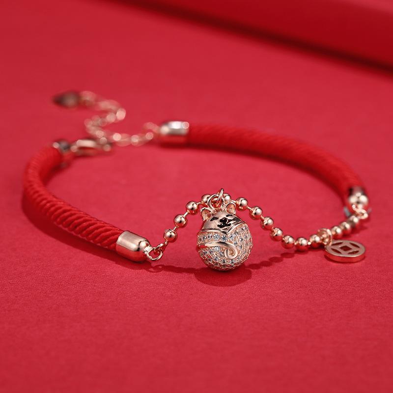 本命年女鼠年手链编织绳红手绳生肖属鼠转运珠金鼠纯银礼物手饰品