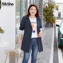 【双排扣风衣】MsShe大码女装2020新款胖mm秋装中款修身收腰外套