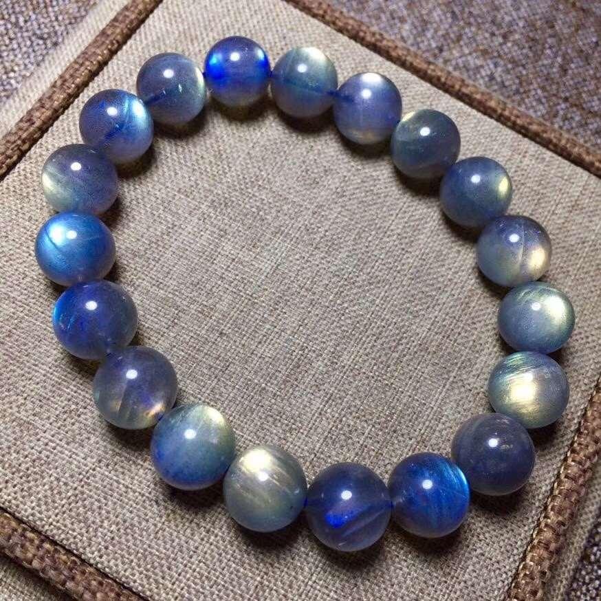 High grade natural grey moonlight bracelet, elongated stone single ring bracelet, female natural crystal jewelry, gift, light intensity and good body