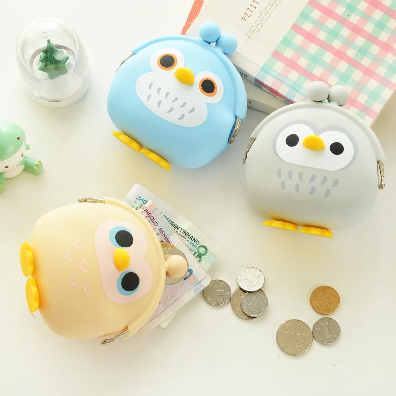 零钱包 女猫头鹰钥匙包 可爱迷你硬币包硅胶韩国创意耳机包小钱包