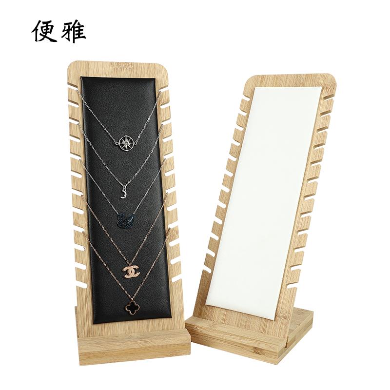 新款竹木项链展示架吊坠挂架橱窗柜台首饰架拍摄饰品珠宝展示道具