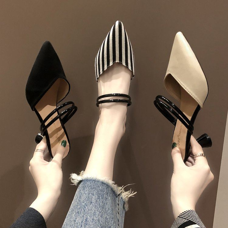 Spring summer black sandals womens fashion low heel good-looking Fashion Shoes Sexy pointed mouth slippers womens foreign style spring style breathable summer