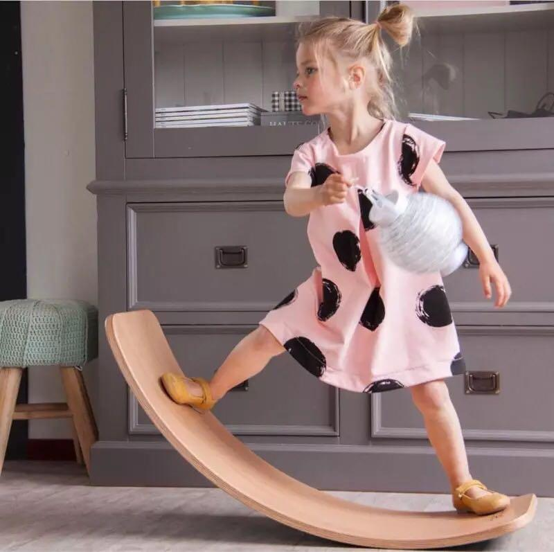 Ins popular childrens room colorful wooden seesaw fitness board balance board Yoga board entertainment facilities bending board