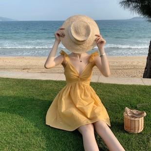 泰國旅遊渡假沙灘裙女2020海南三亞小個子顯高吊帶短裙性感連衣裙