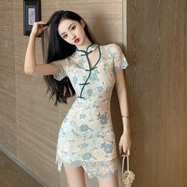 网红主播服装女性感直播衣服年轻款少女蕾丝国风旗袍改良版连衣裙