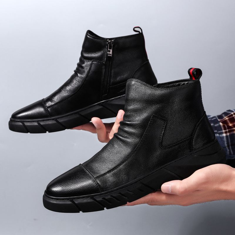 Japanese waterproof leather boots Plush Snow cotton boots Martin boots mens high top shoes leather laceless labor protection work shoes