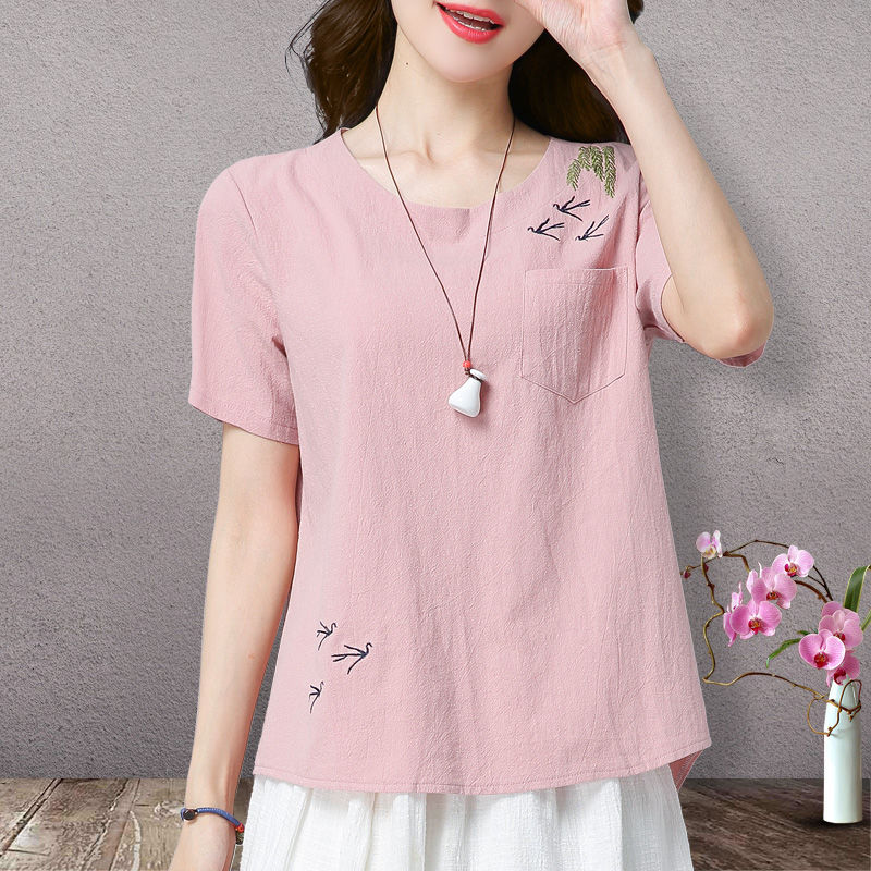 Cotton and hemp top womens clothing 2020 summer new middle-aged mothers wear embroidery large loose linen short sleeve T-shirt for women