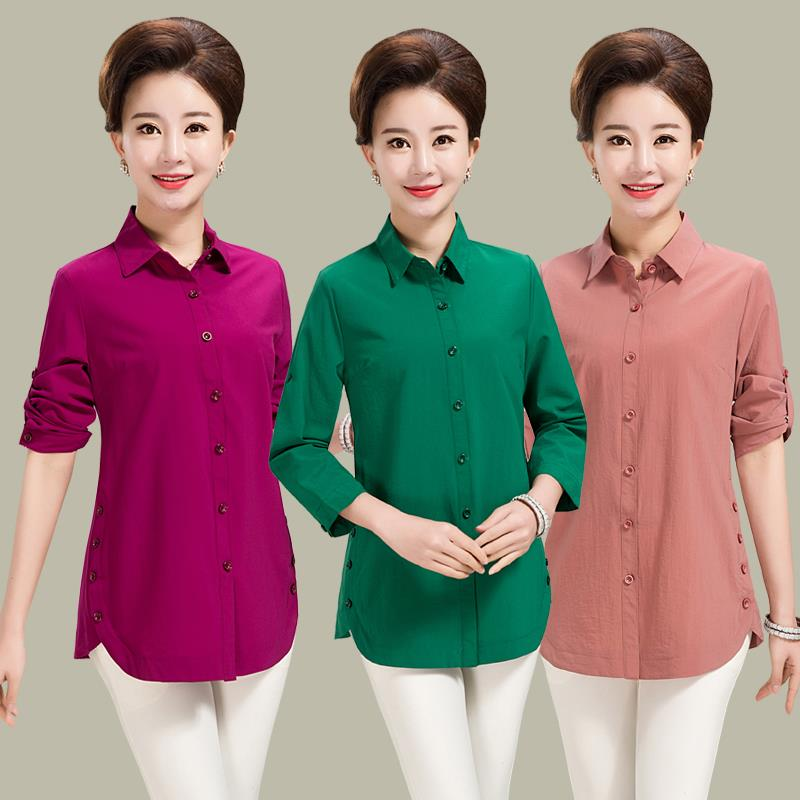 Middle aged and elderly womens shirt long sleeve spring summer shirt top middle aged womens large size mothers summer short sleeve T-shirt