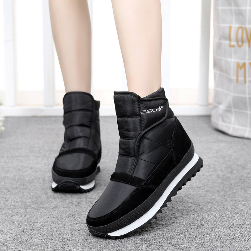 Winter new low tube Plush warm, waterproof and antiskid snow boots, thick soled cotton shoes, outdoor short boots, womens shoes trend