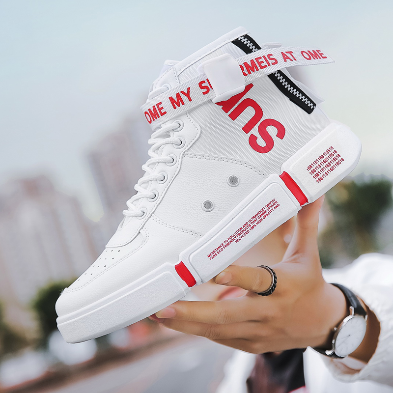 Spring 2020 New Style Mens board shoes light luxury high top youth sports leisure breathable odor proof buckle small white shoes