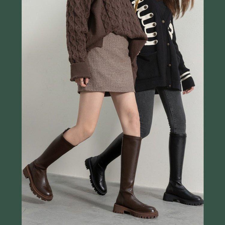 不过膝弹力长靴英伦马丁靴韩版真软皮女鞋棕色高筒靴2021骑士靴