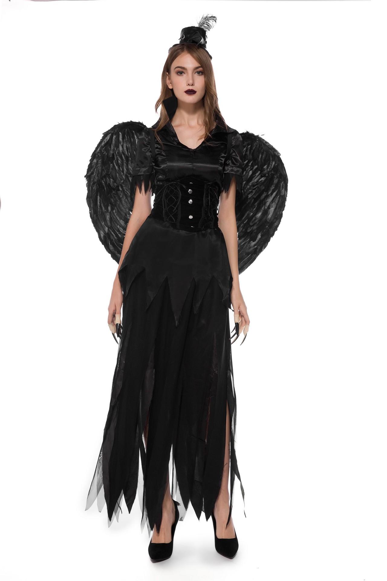 万圣节服装天使与恶魔翅膀王吸血鬼巫婆角色扮演夜店舞台演出服女