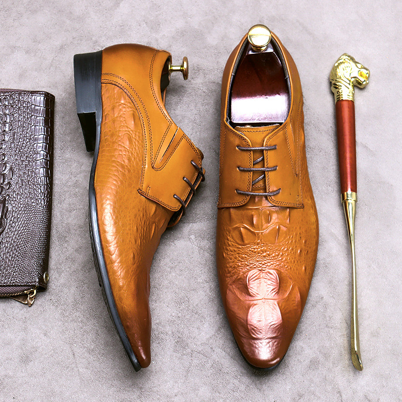Mens formal wear single shoes crocodile shoes mens large shoes leather spring and summer mens shoes