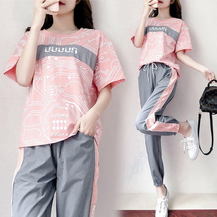 帛觉运动套装女2020春夏季新款韩版宽松短袖长裤学生休闲两件套潮