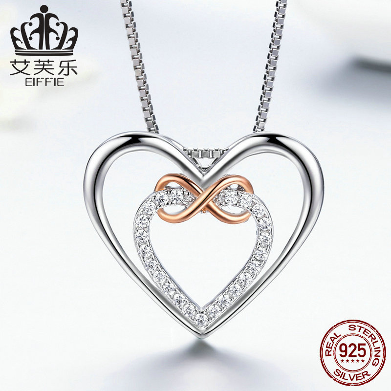 Popular exquisite heart S925 silver heart-shaped gem necklace in stock y SCN121