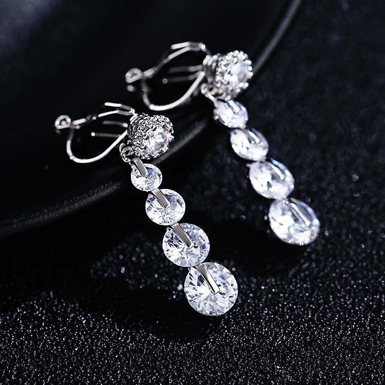 Simple womens Clip On Earrings individual long super fairy girl Earrings New zircon ear clip without hole