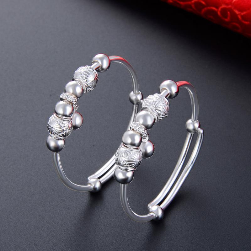 Childrens silver bracelet bracelet Jewelry baby baby baby Beaded bead bell bracelet bracelet full moon gift