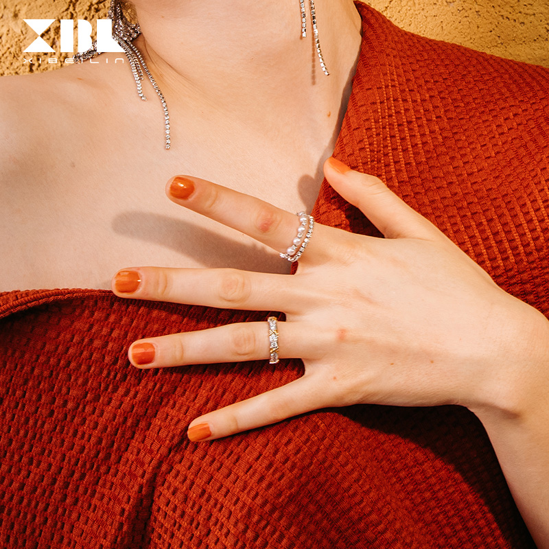 XBL European and American fashion individual trend double ring Japanese Light luxury imitation diamond imitation pearl hand jewelry small silver ring