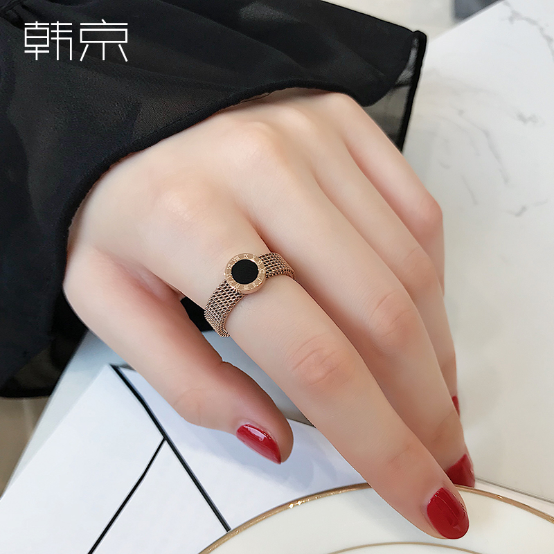HJ Korean black face Roman numeral soft chain ring female index finger joint gold Chaoren ring titanium steel jewelry