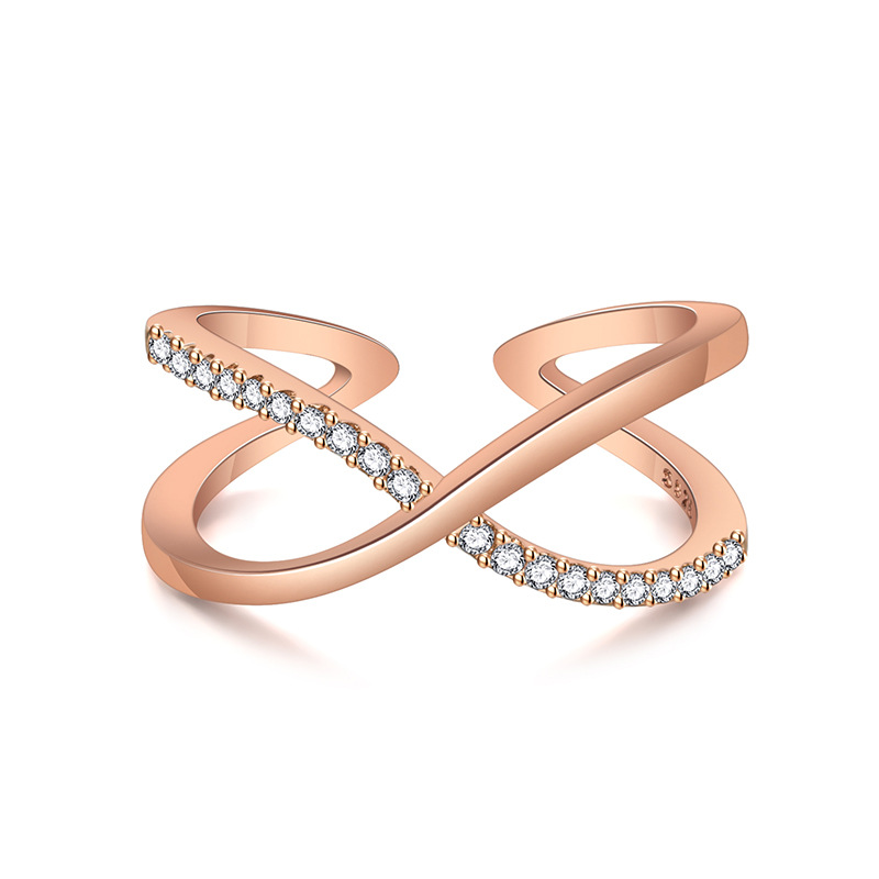 New Korean ring with double-layer diamond inlay and openwork for women