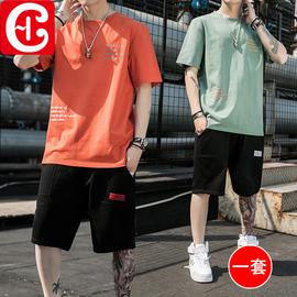 两件套夏季男士短袖t恤套装潮流休闲体恤圆领宽松夏天薄款衣服潮图片