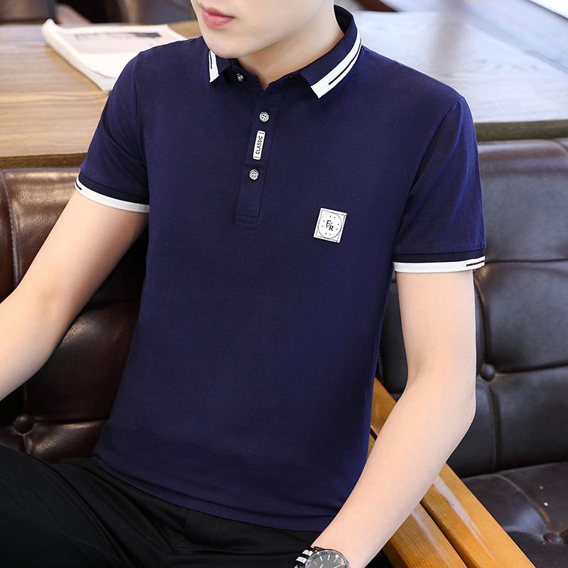 男士2020夏季新款短袖T恤翻领polo衫韩版潮流有领商务上衣潮