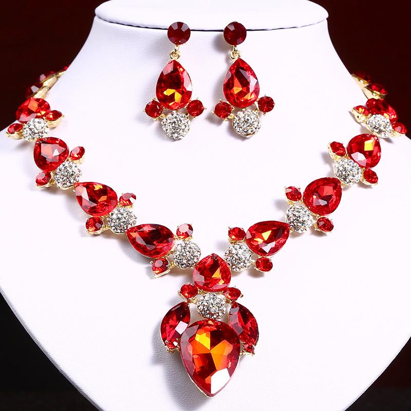 欧美时尚首饰套链 气质百搭水钻宝石项链耳环套装女礼服宴会配饰