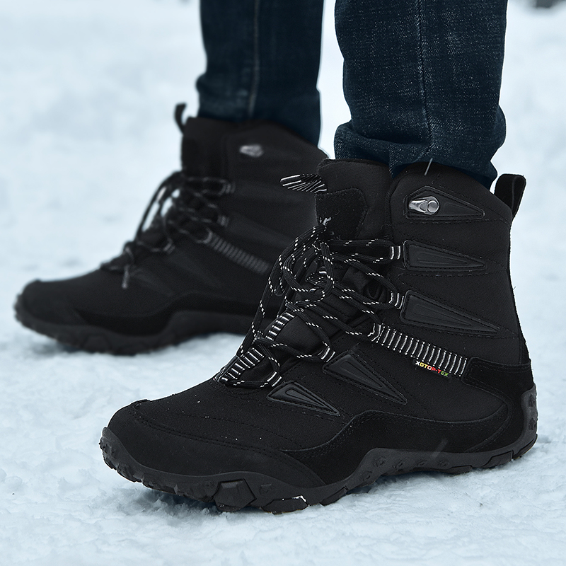 Winter outdoor Snow Boots Mens middle tube waterproof and antiskid Plush thickened cotton Boots Mens northeast warm cotton shoes mens Boots