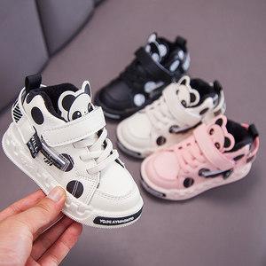 宝宝鞋子学步鞋软底2021秋冬季加绒新款男童棉鞋小童二棉女童皮鞋