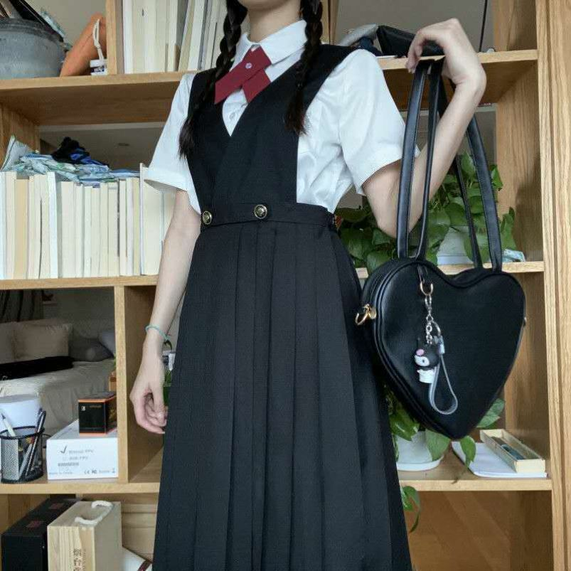 中國代購|中國批發-ibuy99|西装裙|基础款护奶背心裙jks制服配套衬衫短西装中长裙黑色/绀色百搭套装