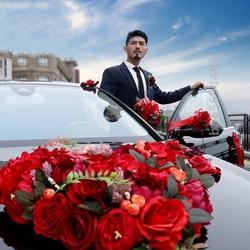 车用酒红色无痕好婚车主车装饰的结婚时尚固定假花豪华接亲车头花