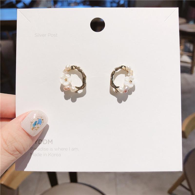18K Gold Plated Freshwater Pearl Earrings 925 silver needle earrings with micro zircon inlaid Flower Earrings temperament net red Earrings
