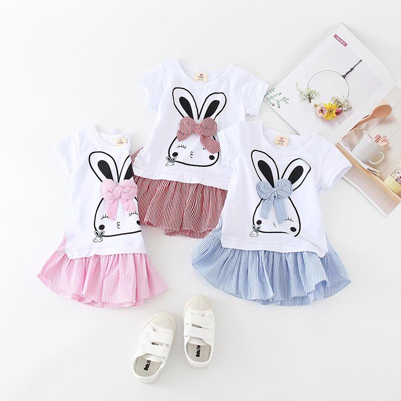Shell family rabbit skirt 2020 summer girls short sleeve skirt childrens bow skirt