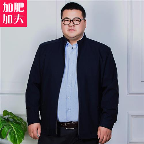 。 Oversized mens jacket middle-aged and elderly plus fat extra large stand collar jacket fat man fat man father loose spring and Autumn