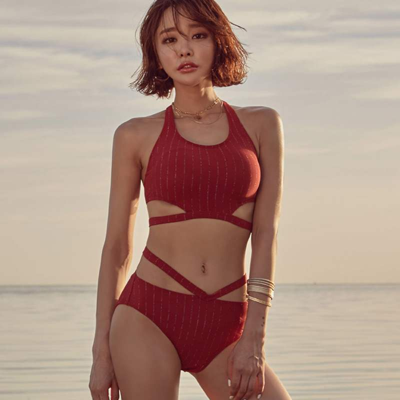 2019 New Europe and the United States sexy solid color foreign trade high waist bikini slim fit gathered beach split swimsuit girl