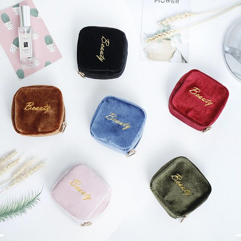 耳机包小香风简约出差镜子化妆品收纳包便捷式零钱袋出行立体韩国