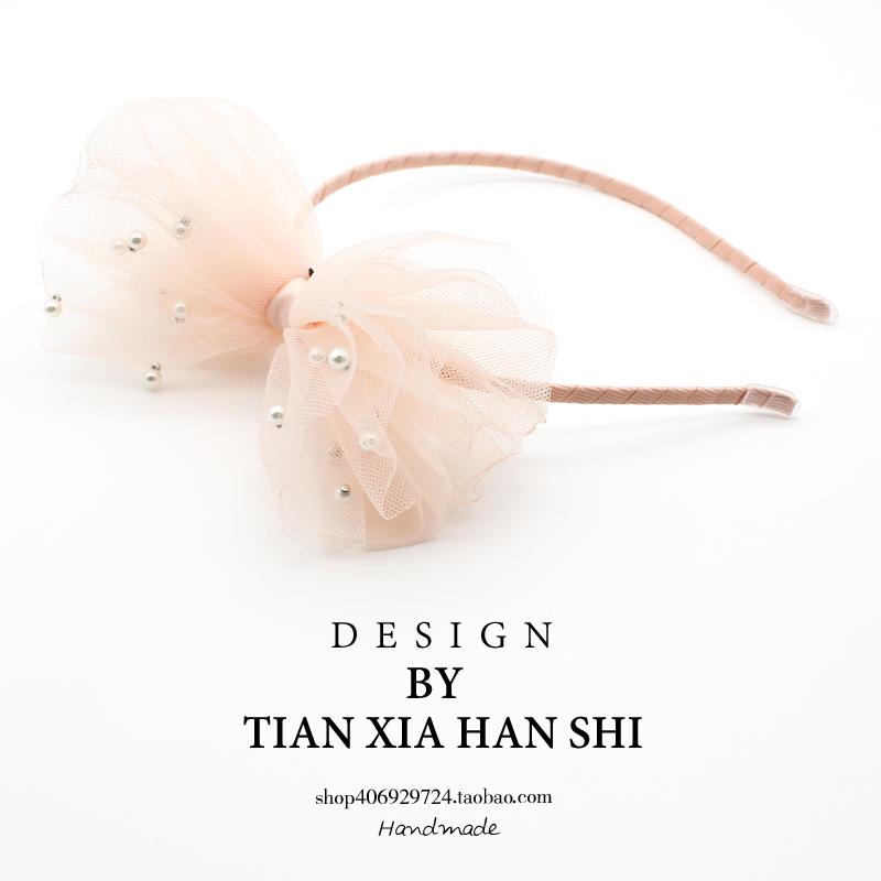 韩国儿童发箍公主超仙甜美网纱蝴蝶结珍珠女童头箍小女孩发卡头饰