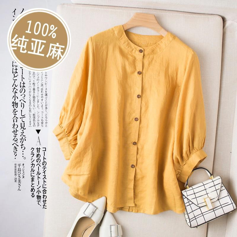 Cotton and linen top summer c009 art small shirt retro shirt loose baby shirt casual seven sleeve Linen Shirt woman