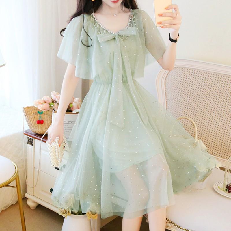 Dreamy starry FAIRY DRESS chic gentle little summer waist slim bow Sequin mesh dress