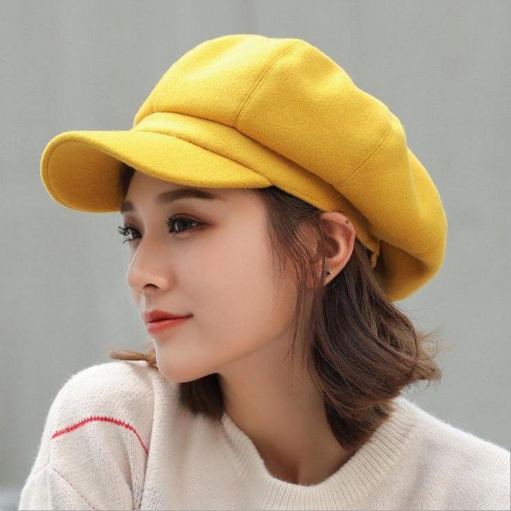 Solid Beret Khaki British fur octagonal hat painter winter 2020 new versatile hat Korean version
